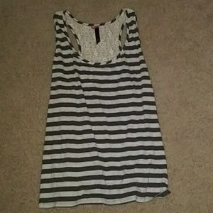 Pure energy lace back striped big tank top